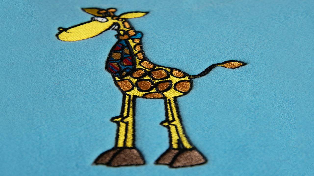 Giraffe embroidery for kids wear
